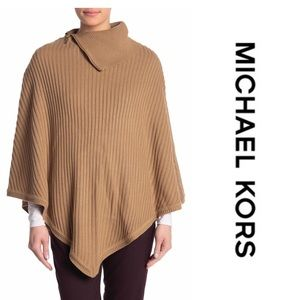 Michael Kors Zippered Ribbed-Knit Poncho